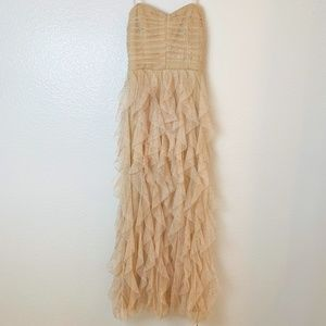 Nude Sequin Formal Dress Gown Strapless